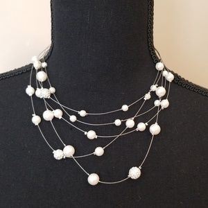 Pearl/crystal 'floating' necklace